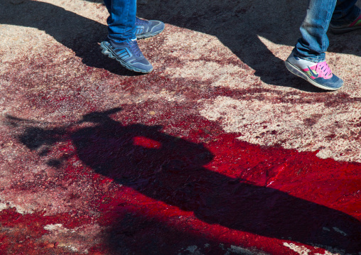 Shadows In Blood Of Iranian Shiite Men Who Are Beating Themselves With Iron Chains To Commemorate Ashura, Kurdistan Province, Bijar, Iran