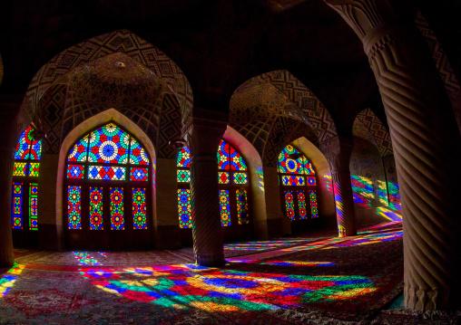 The Prayer Hall Of Nasir Ol Molk Mosque With Its Beautiful Coloured Glass Windows, Fars Province, Shiraz, Iran