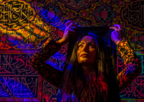 Iranian Woman In The Nasir Ol Molk Mosque With Its Beautiful Coloured Glass Windows, Fars Province, Shiraz, Iran