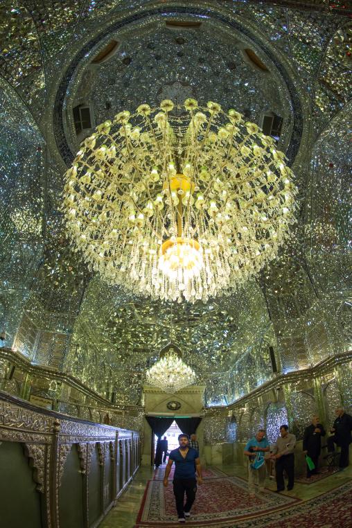 Muslim Shiite People Hall Of The Shah-e-cheragh Mausoleum, Fars Province, Shiraz, Iran