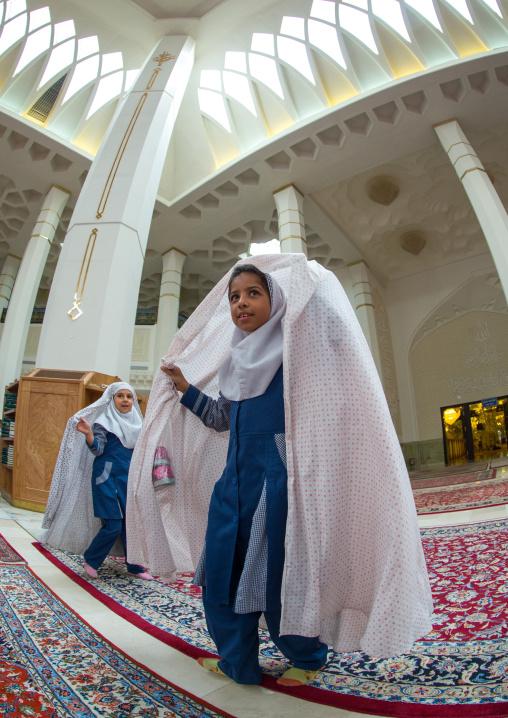 Muslim Shiite Girls In The Shah-e-cheragh Mausoleum, Fars Province, Shiraz, Iran