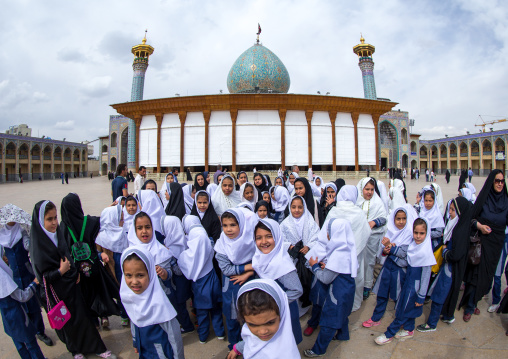 Veiled Veiled Muslim Shiite Schoolgirls In Front Of The Shah-e-cheragh Mausoleum, Fars Province, Shiraz, Iran