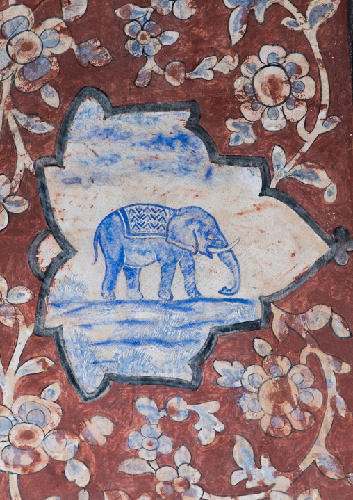 Detail Of A Painted Ceiling With An Elephant In Bagh-e Tarikhi-ye Fin Garden, Isfahan Province, Kashan, Iran