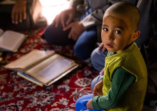 Turkmen Boy With Freshly Shaved Head At A Coranic School, Golestan Province, Karim Ishan, Iran