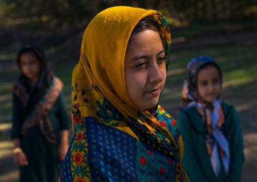Turkmen Girls With Traditional Clothing, Golestan Province, Karim Ishan, Iran