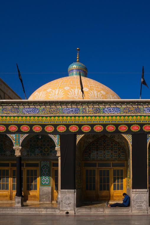 Man Resting Outside Of Fatima Al-masumeh Shrine, Central County, Qom, Iran