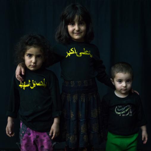 Iranian Shiite Muslim Children During Muharram Celebration, Isfahan Province, Kashan, Iran