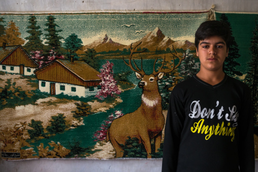 An Afghan Refugee Teenager In Front Of A Carpet On A Wall Displaying A Swiss Landscape, Isfahan Province, Kashan, Iran