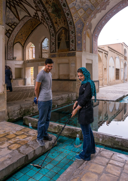 Couple Taking A Selfie In Shotor Galou-e-shah Abbasi In Fin Garden, Isfahan Province, Kashan, Iran