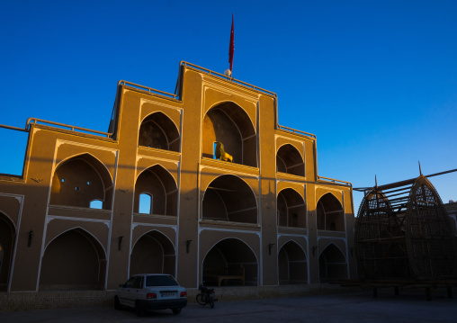 A Wooden Nakhl In Front Of The Three-storey Hosseinieh 