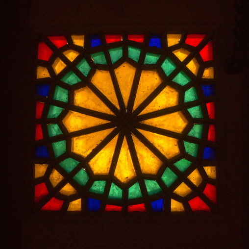 Stained Glass Window In Aghazadeh Mansion, Fars Province, Abarkooh, Iran