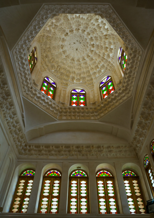 Ceiling With Its Intricate And Elaborate Patterns In Aghazadeh Mansion, Fars Province, Abarkooh, Iran