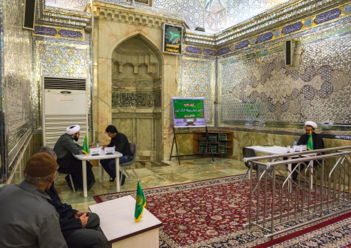 Mullahs Who Answer To Visitors Questions In The Shah-e-cheragh Mausoleum, Fars Province, Shiraz, Iran
