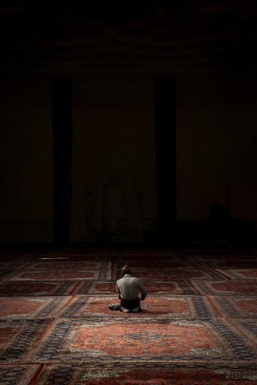 Iranian Shiite Muslim Man Praying In Fatima Al-masumeh Mosque, Fars Province, Shiraz, Iran
