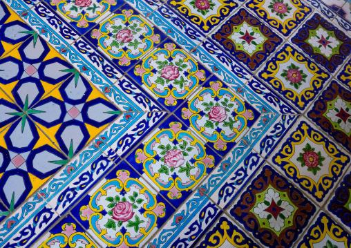Mosaic Pattern With Ceramic Tiles In Shapouri Garden House, Fars Province, Shiraz, Iran