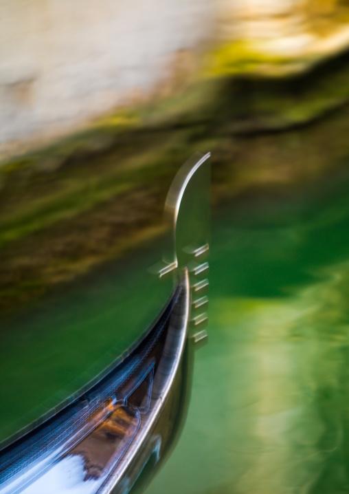 Gondola bow on the move, Veneto Region, Venice, Italy