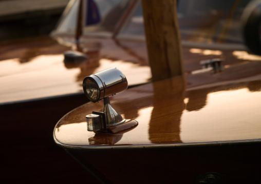 Lamp of a speedboat, Veneto Region, Venice, Italy