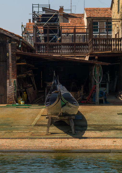 Gondola in a workshop, Veneto Region, Venice, Italy
