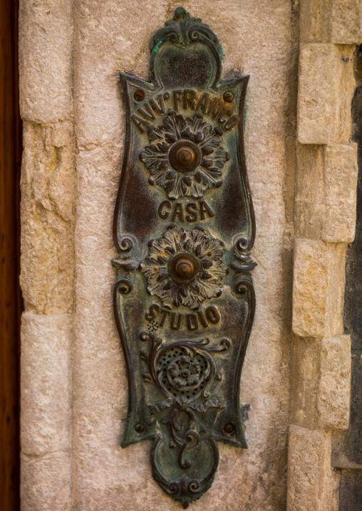 Old bronze doorbell, Veneto Region, Venice, Italy