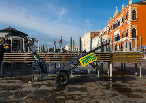 Luggage cart in front of an hotel, Veneto, Venice, Italia