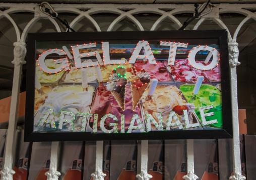 A sign at italian gelateria, Veneto, Venice, Italia