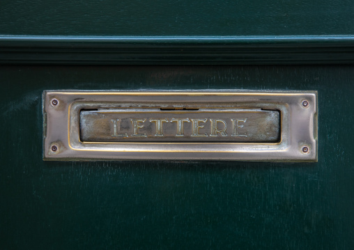 Mailbox on a green door, Veneto, Venice, Italia