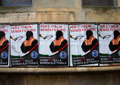 Posters for the 2018 italian general election, Veneto, Venice, Italia