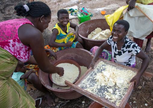 African women making attiéké, Région des Lacs, Sakiare, Ivory Coast