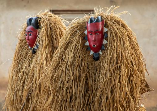 Goli sacred masks in Baule tribe during a ceremony, Région des Lacs, Bomizanbo, Ivory Coast