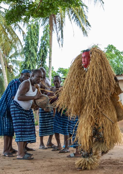 Goli sacred mask dance in Baule tribe during a ceremony, Région des Lacs, Bomizanbo, Ivory Coast