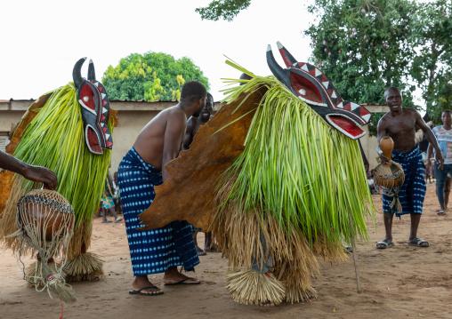 Goli sacred masks couple in Baule tribe during a ceremony, Région des Lacs, Bomizanbo, Ivory Coast