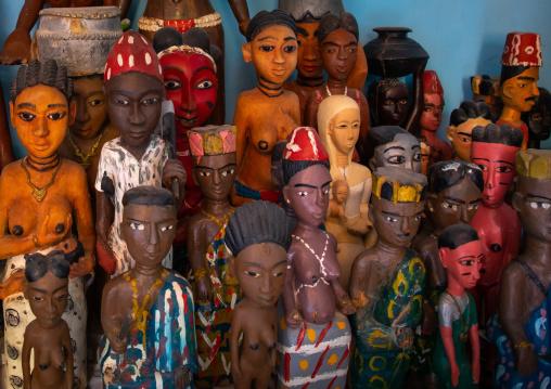 Komians sacred statues in Adjoua Messouma Komians initiation centre, Moyen-Comoé, Aniassue, Ivory Coast