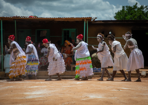 Women dancing during a ceremony in Adjoua Messouma Komians initiation centre, Moyen-Comoé, Aniassue, Ivory Coast