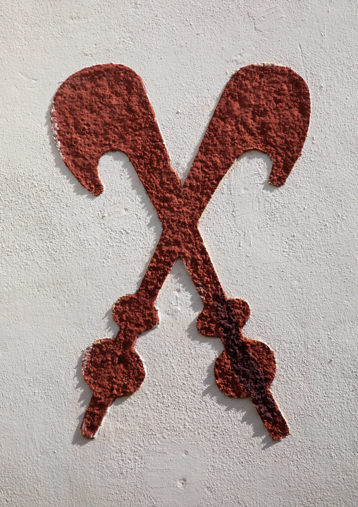 Courage bravery and heroism symbols painted on the wall of the Agni-indenie royal palace, Comoé, Abengourou, Ivory Coast