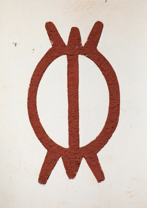 Perseverance symbol painted on the wall of the agni-indenie royal palace, Comoé, Abengourou, Ivory Coast