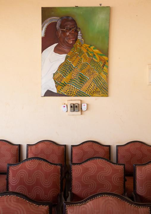 Agni-indenie royal palace with the portrait of the king Nanan Boa Kouassi, Comoé, Abengourou, Ivory Coast