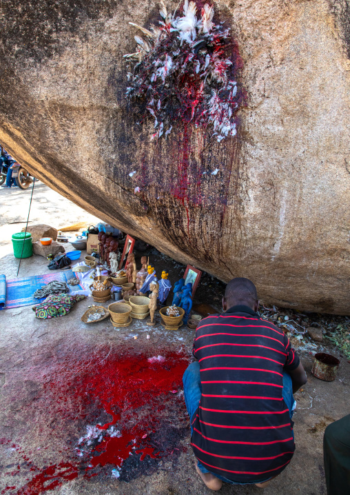 Senufo man making a sacrifice in an animist sanctuary, Savanes district, Shienlow, Ivory Coast