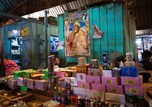 Poster of sheikh Ibrahim Inyass in the market, Poro region, Korhogo, Ivory Coast