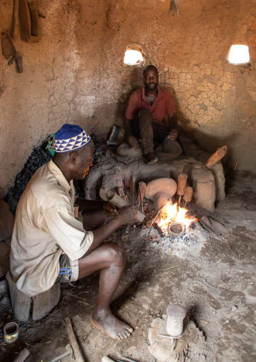 Senufo blacksmith working in his workshop, Poro region, Koni, Ivory Coast