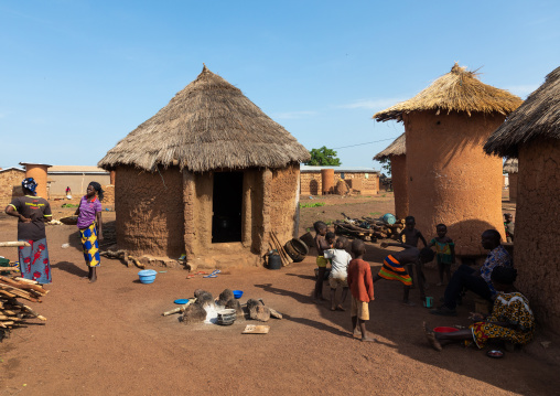 Granaries and huts with thatched roofs, Savanes district, Niofoin, Ivory Coast