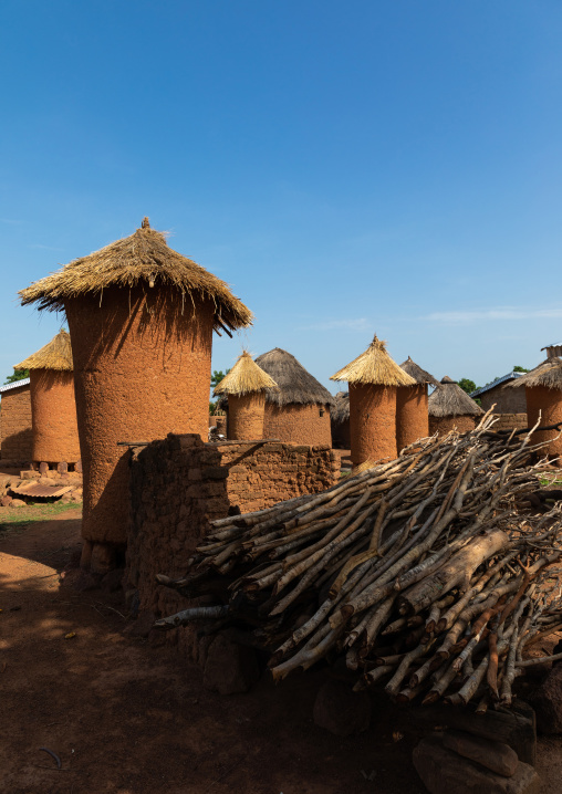Granaries with thatched roofs in a Senufo village, Savanes district, Niofoin, Ivory Coast