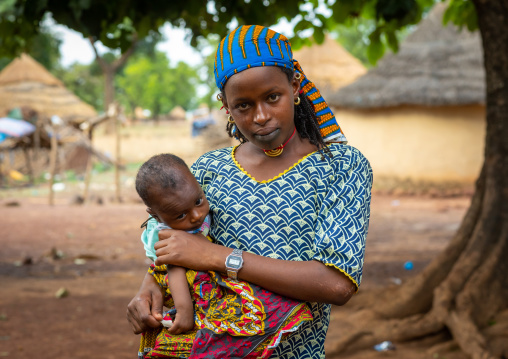 Portrait of a Peul tribe mother with her child, Savanes district, Boundiali, Ivory Coast