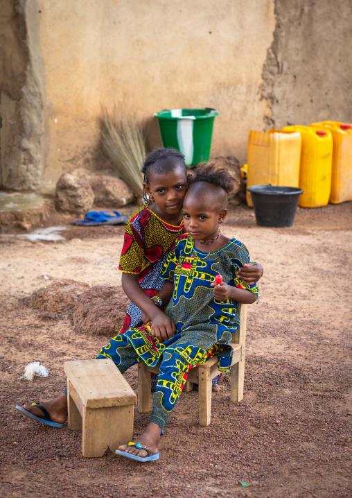 Portrait of a Peul tribe girls in a village, Savanes district, Boundiali, Ivory Coast