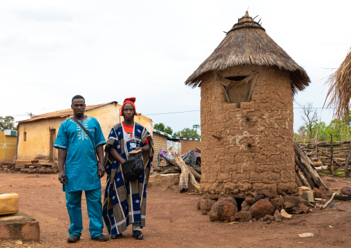 Young men attending the Poro society age-grade initiation in Senufo tribe during a ceremony, Savanes district, Ndara, Ivory Coast