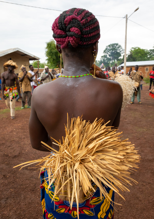 Young Senufo woman dancing the Ngoro during a ceremony, Savanes district, Ndara, Ivory Coast