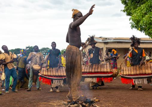 Shirtless man walking in the fire during the Ngoro dance, Savanes district, Ndara, Ivory Coast
