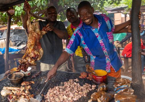 Grilled meat as street food, Savanes district, Kouto, Ivory Coast