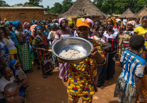 Dan tribe people celebrating the yam harvest in a village, Bafing, Godoufouma, Ivory Coast