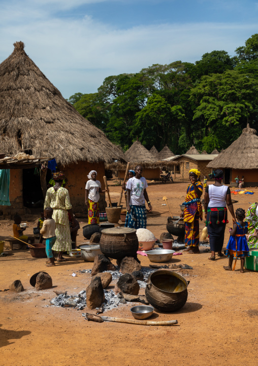 Dan tribe women cooking to celebrate the yam harvest in a village, Bafing, Godoufouma, Ivory Coast