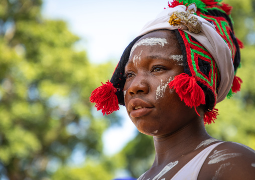 Dan tribe woman dancing during a ceremony, Bafing, Gboni, Ivory Coast